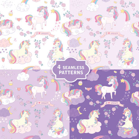 Hand drawn seamless vector pattern with cute unicorns in 4 colors. Perfect for fabric, wrapping paper, wallpaper or nursery decor. 免版税图像 - 125824257