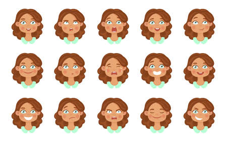 Set of cute girl avatar expressions face emotions. Flat cartoon colorful vector illustration. 矢量图像