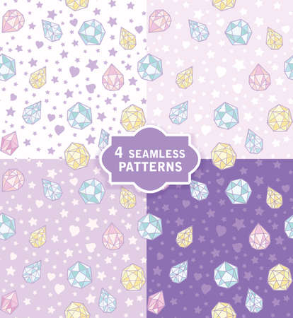 Hand drawn seamless vector pattern with cute magic crystals in 4 colors. Perfect for fabric, wrapping paper, wallpaper or nursery decor. Illustration