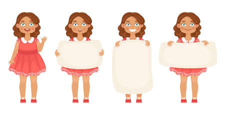 Bundle of cute little girls holding various vertical and horizontal banners on a white background for your text. Flat cartoon colorful vector illustration. Illustration