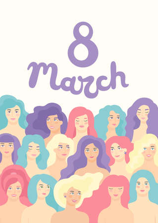 Vector flat cartoon design for International Women s Day 8 March holiday with different women. Happy women s day celebration calendar concept. 矢量图像