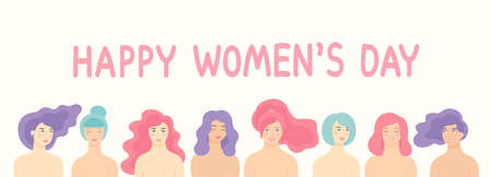 Vector flat cartoon design for International Women s Day 8 March holiday with different women. Happy women s day celebration calendar concept. Illustration