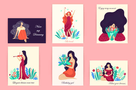 Romantic set of cute illustrations. Vector illustrations with a dreamy young beautiful women surrounded by plants and flowers. EPS 8.