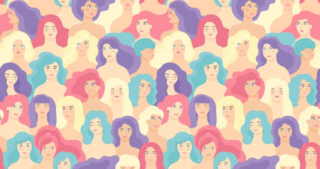 International Women s Day. Vector seamless pattern with flat cartoon women faces. EPS 8. 矢量图像