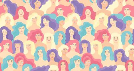 International Women s Day. Vector seamless pattern with flat cartoon women faces. EPS 8. Illustration
