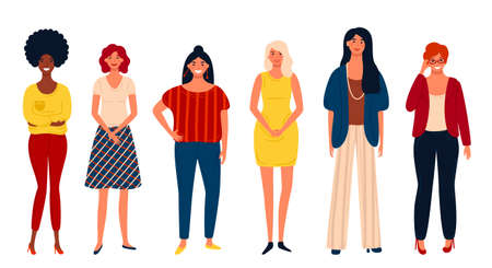 Diverse international group of standing happy women or girls. Flat cartoon characters isolated on white background. Vector illustration for girls power concept, feminine, feminism ideas.