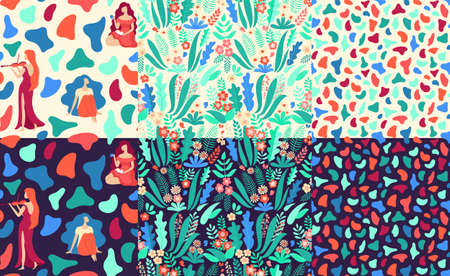 Bundle of hand drawn seamless vector patterns with beautiful female silhouettes, abstract shapes and floral elements on light and black backgrounds. Perfect for fabric, wrapping paper, wallpaper or other decor. 免版税图像 - 125306914