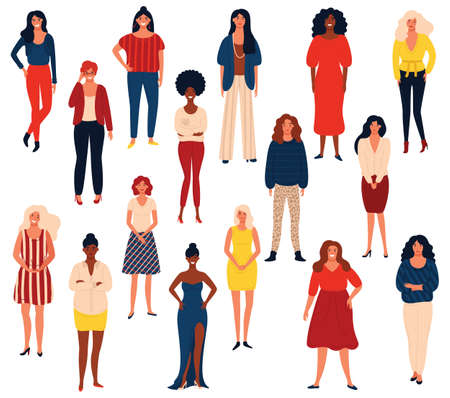 Diverse international group of standing happy women or girls. Flat cartoon characters isolated on white background. Vector illustration for girls power concept, feminine and feminism ideas and so on. Illustration
