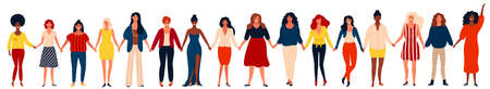 Diverse international group of happy women or girls standing together and holding hands. Flat cartoon characters isolated on white background. Vector illustration for girls power concept, feminine and feminism ideas and so on. 矢量图像