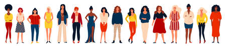 Diverse international group of happy women or girls standing together. Flat cartoon characters isolated on white background. Vector illustration for girls power concept, feminine and feminism ideas and so on. 矢量图像