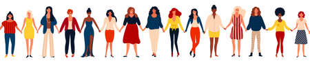 Modern seamless border with international group of happy women or girls standing together and holding hands. Flat cartoon characters isolated on white background. Vector illustration for girls power concept, feminine and feminism ideas.