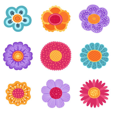 Collection of spring flower icons in silhouette isolated on white background. Cute flat vector illustrations in bright colors for stickers, tags, labels. EPS 8. 矢量图像