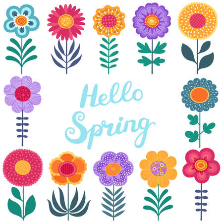 Spring set, hand drawn flowers and calligraphy on white background. Cute flat vector illustrations in bright colors for stickers, tags, labels. EPS 8.