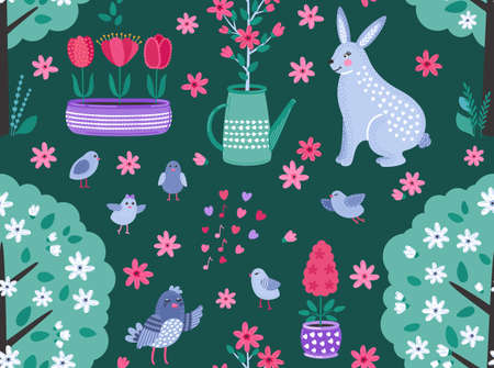 Colorful spring funny vector seamless pattern with flowers, birds and rabbit on a dark background. Cute flat vector background in bright colors for fabric, wrapping paper, wallpaper. EPS 8.
