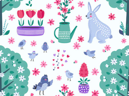 Colorful spring funny vector seamless pattern with flowers, birds and rabbit. Cute flat vector background in bright colors for fabric, wrapping paper, wallpaper. EPS 8.