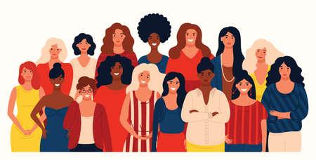 Group portrait of international group happy women or girls. Vector design for International Women s Day 8 March holiday. Happy women s day celebration calendar concept.
