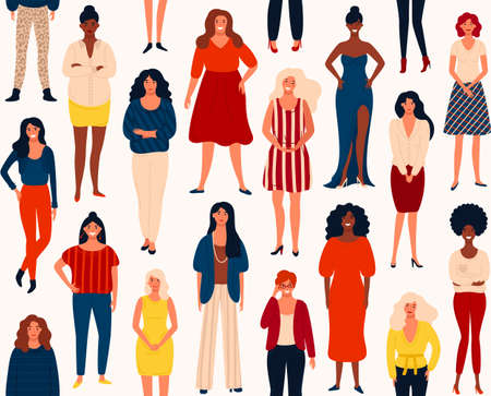 Seamless vector pattern with diverse international group of standing happy women or girls. Vector illustration for girls power concept, feminine and feminism ideas. 矢量图像