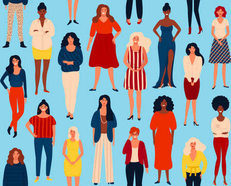 Seamless vector pattern with diverse international group of standing happy women or girls. Vector illustration for girls power concept, feminine and feminism ideas. EPS 8.