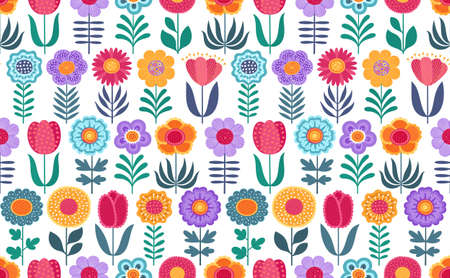 Colorful funny seamless vector pattern with flowers on white background. Cute flat vector background in bright colors for fabric, wrapping paper, wallpaper. EPS 8.