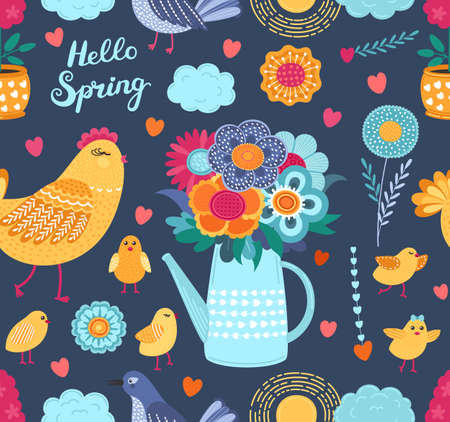 Colorful spring funny vector seamless pattern with flowers and birds. Cute flat vector background in bright colors for fabric, wrapping paper, wallpaper. EPS 8. 矢量图像