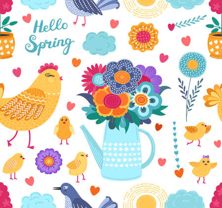 Colorful spring funny vector seamless pattern with flowers and birds on white background. Cute flat vector background in bright colors for fabric, wrapping paper, wallpaper. EPS 8.