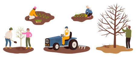 Set of happy farmers working on farm planting crops, plant a tree, plowing the field, pruning tree branches. Flat vector illustrations isolated on white background. Cartoon characters of man and woman farming concept.