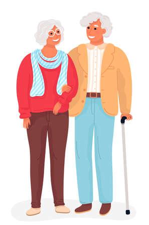 Happy grandparents. Flat cartoon illustration. Grandpa and grandma standing full length holding hands. 矢量图像