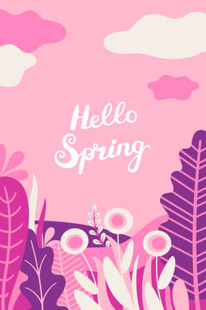 Abstract background with leaves, flowers and copy space for text. Bright flat spring illustration. 矢量图像