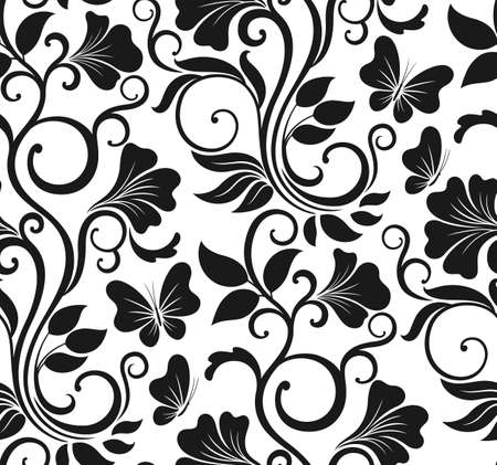 Luxury seamless graphic background with flowers and leaves. Floral pattern.