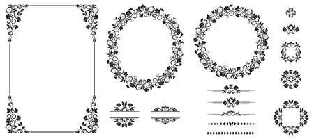 Set of graphic elements for design. Floral elements for design of invitations, frames, menus, monograms, labels, websites.