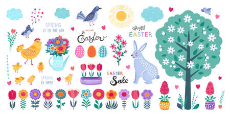 Set of Easter design elements. Hand drawn eggs, chicken, flowers, tulips, birds, rabbit and calligraphy on white background. Cute flat vector illustrations in bright colors for stickers, tags, labels. EPS 8. 矢量图像
