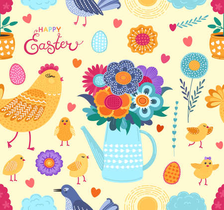 Colorful easter funny vector seamless pattern with spring flowers, chickens, eggs and birds. Cute flat vector background in bright colors for fabric, wrapping paper, wallpaper. EPS 8. 矢量图像