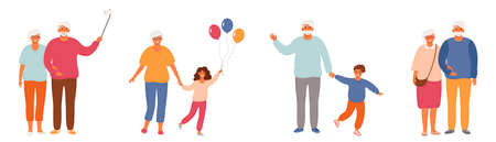 Set of healthy active lifestyle seniors. Elderly people characters. Modern Grandfather And Grandmother. Old people take photos, spend time with their grandchildren, take walks. Grandparents family isolated on white background. Flat vector illustration. EPS 8. 矢量图像