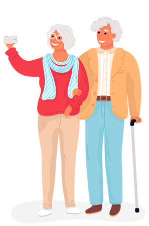 Happy grandparents. Vector flat cartoon illustration. Grandpa and grandma taking selfie photo standing full length holding hands. Elderly couple. Modern grandfather and grandmother. Grandparents day.