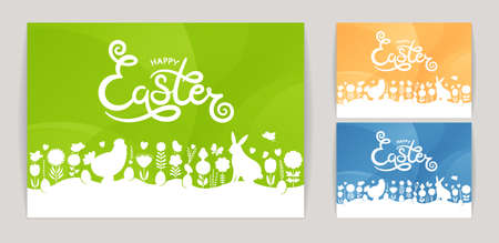 Modern Easter. Set of modern Happy Easter cards. Happy Easter lettering with Easter design elements on abstract background.