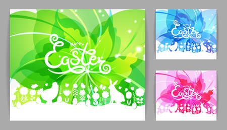 Modern Easter. Set of modern Happy Easter cards. Happy Easter lettering with Easter design elements on abstract flower background.