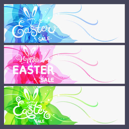 Set of modern Happy Easter cards. Happy Easter sale lettering on abstract flower background.