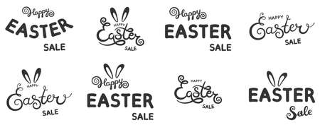 Set of Happy Easter sale text as Pascha icon. Drawn card, poster, invitation, banner template lettering typography.