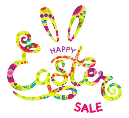 Hand drawn Happy Easter sale lettering on white background. Cute illustrations in bright colors for stickers, tags, labels.