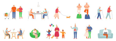 Set of active lifestyle seniors. Elderly people characters. Old people eat healthy food, do yoga, nordic walking, walk their pet, visit a cafe, use a laptop, talk on the phone, celebrate a birthday with family, dance together. Grandfather and grandmother isolated on white background. EPS8.