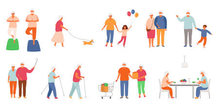 Set of active lifestyle seniors. Elderly people characters. Old people eat healthy food, do yoga, nordic walking, walk their pet, spend time with their grandchildren, take a selfie. Grandfather and grandmother isolated on white background. EPS8. 矢量图像