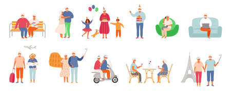 Set of active lifestyle seniors. Elderly people characters. Old people traveling the world, visit a cafe, use a laptop, talk on the phone, celebrate a birthday with family, dance together. Grandfather and grandmother isolated on white background. EPS8. 矢量图像