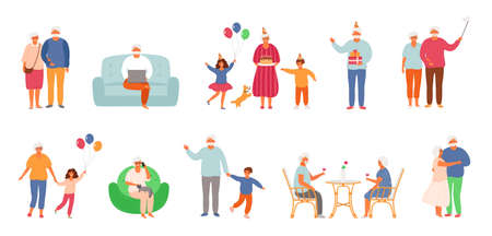 Set of active lifestyle seniors. Elderly people characters. Old people visit a cafe, use a laptop, talk on the phone, celebrate a birthday with family, dance together, take a selfie. Grandfather and grandmother isolated on white background. EPS8.