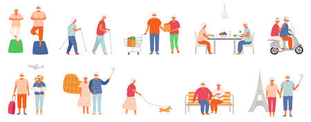 Set of active lifestyle seniors. Elderly people characters. Old people eat healthy food, do yoga, nordic walking, traveling the world, walk their pet. Grandfather and grandmother isolated on white background. EPS8.