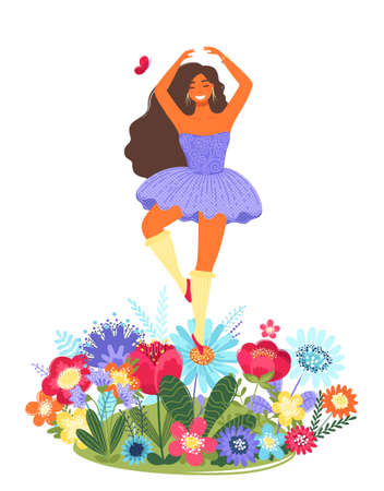 Vector template with happy woman dancing on a flower. Modern flat colorful vector illustration. 矢量图像