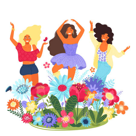 Vector template with happy women and flowers. Modern flat colorful vector illustration. Young pretty girls surrounded by flowers. EPS 8.