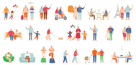 Big set of active lifestyle seniors. Elderly people characters. Old people traveling, eat healthy food, do yoga, take a selfie, celebrate a birthday with family, dance together. Grandfather and grandmother isolated on white background. EPS8.