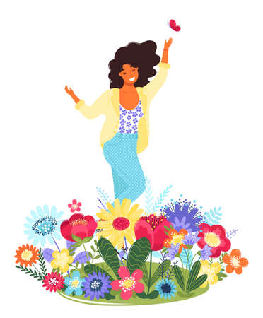 Vector template with happy woman and flowers. Modern flat colorful vector illustration. Young pretty girl surrounded by flowers isolated on white background. EPS 8.