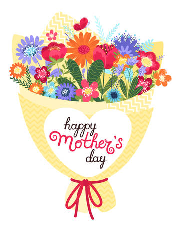Mother s day greeting card. Mother s day background with bouquet and hand written text happy mother s day in flat style. Vector illustration. EPS 8.