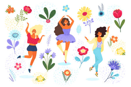 Vector template with happy women and flowers. Modern flat colorful vector illustration.